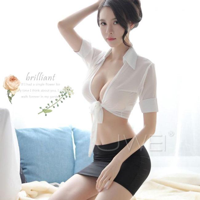 中大尺碼ღ雪紡透視開衫包臀秘書套裝 2XL♥