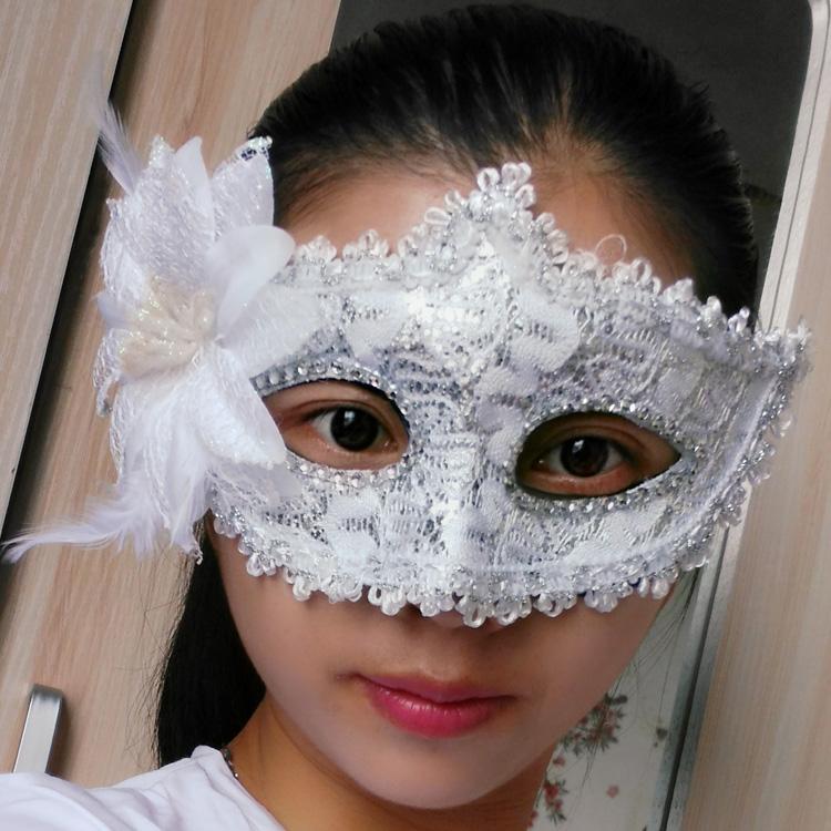 蕾絲派對公主面具(白色)♡