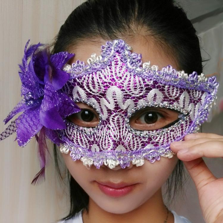 蕾絲派對公主面具(紫色)♥
