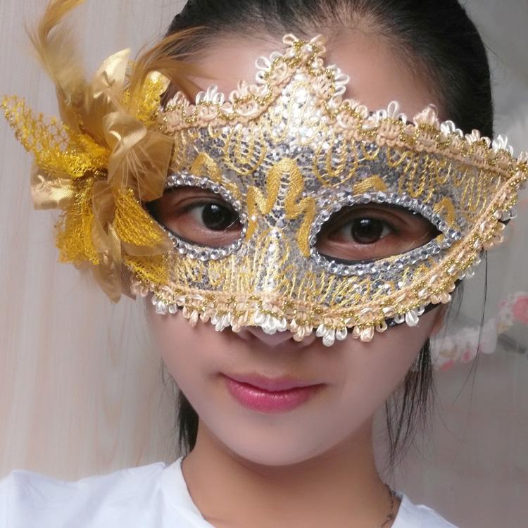 蕾絲派對公主面具(黃色)♡