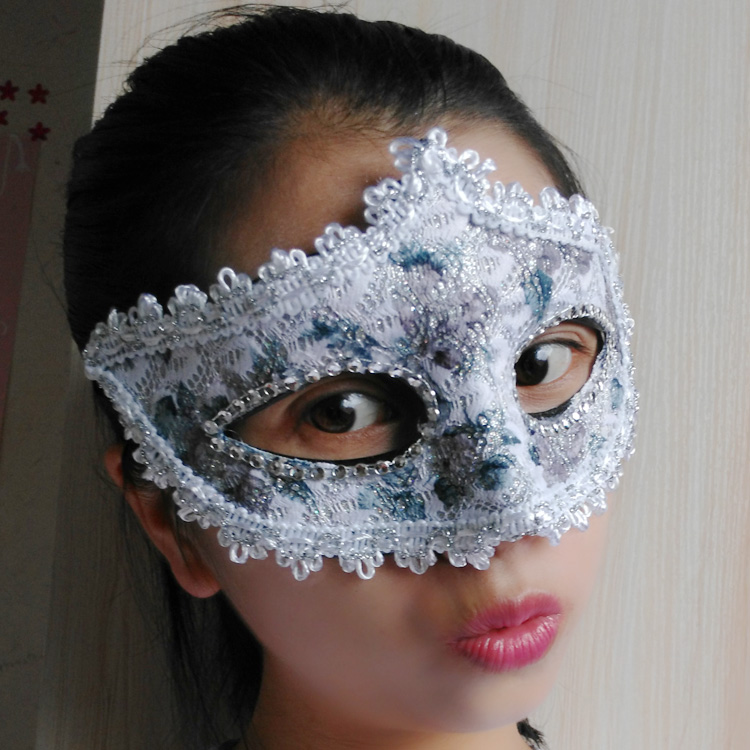 蕾絲派對公主面具(淺灰)♥