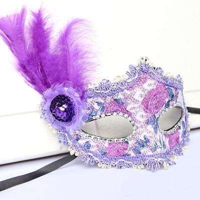 蕾絲派對公主面具(紫色)♡