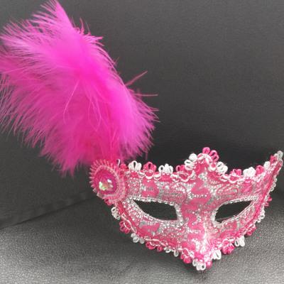 蕾絲派對公主面具(玫紅)♥