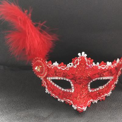 蕾絲派對公主面具(大紅)♥