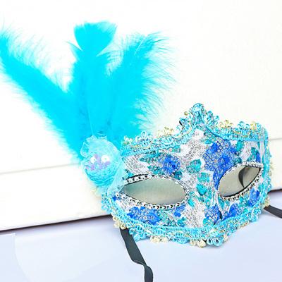 蕾絲派對公主面具(湖藍)♡