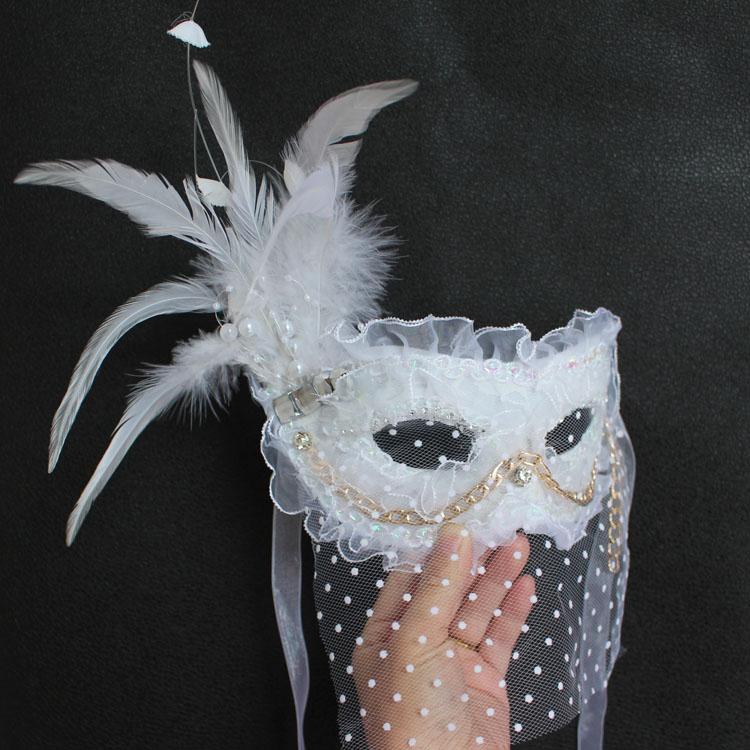 白色蕾絲派對面紗