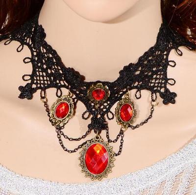 歐美復古紅色蕾絲項鍊