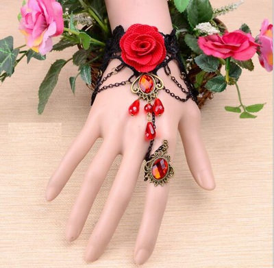 歐美復古紅色蕾絲手鍊
