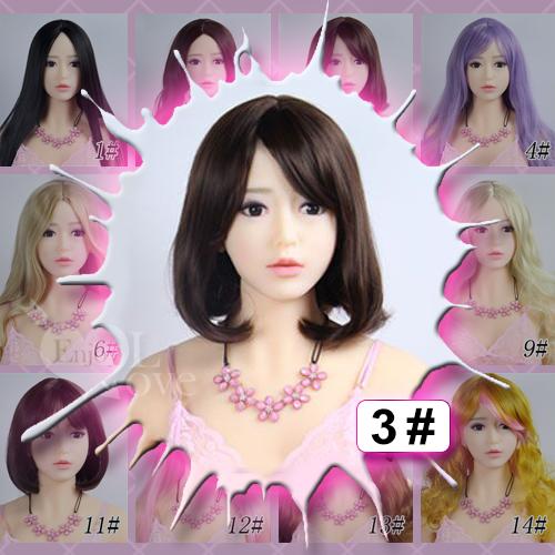 1:1娃實體娃 裝扮假髮‧3# 棕色 斜劉海 短髮