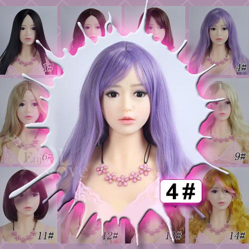 1:1實體娃娃 裝扮假髮‧4# 淺紫色 劉海 長捲髮