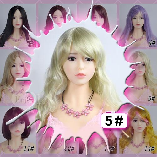 1:1實體娃娃 裝扮假髮‧5# 淺金色 斜劉海 長捲髮