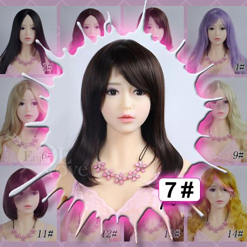 1:1實體娃娃 裝扮假髮‧7# 棕色 斜劉海 中長髮