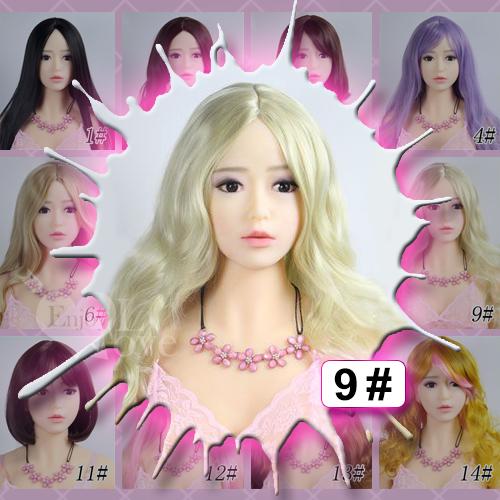 1:1實體娃娃 裝扮假髮‧9# 淺金色 中分 長捲髮