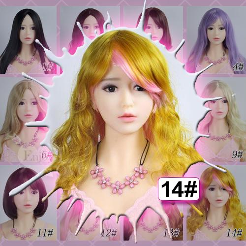 1:1實體娃娃 裝扮假髮‧14# 黃金色 粉挑染混合 長捲髮