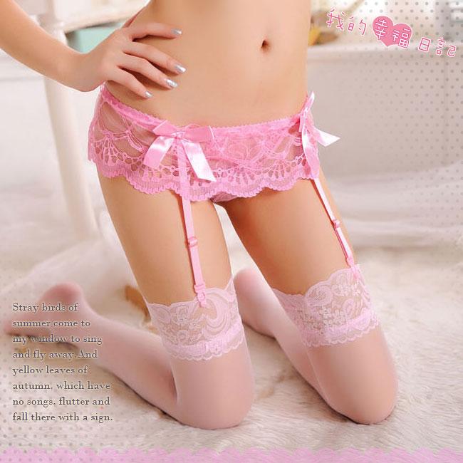 黑夜天使‧蕾絲透視吊襪帶+大腿蕾絲絲襪 (粉)♥