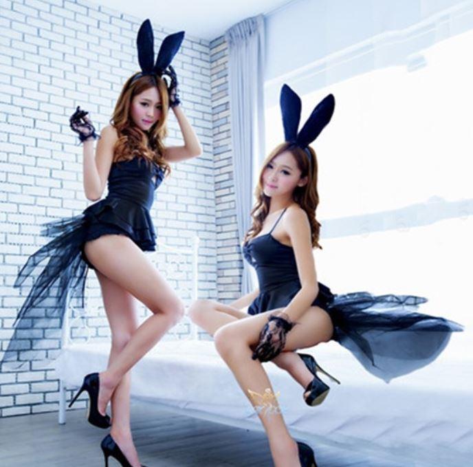 性感兔女郎長紗蕾絲燕尾情趣服♥