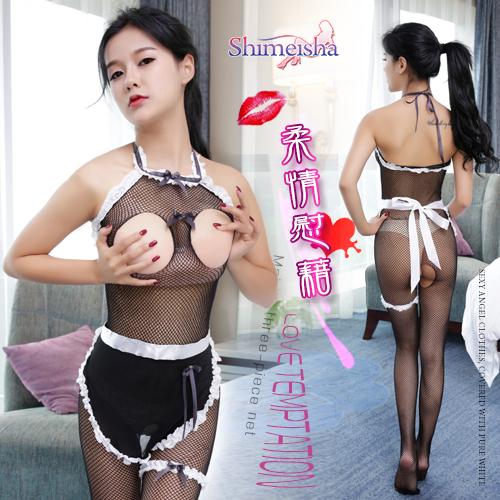 《SHIMEISHA》柔情慰藉!綁脖露乳開檔女傭連身網衣三件組♥
