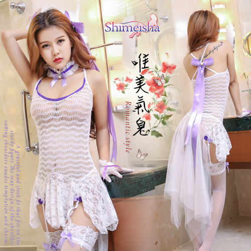 《SHIMEISHA》唯美氣息!蕾絲拼接柔紗裙擺吊襪帶網衣套裝﹝白﹞