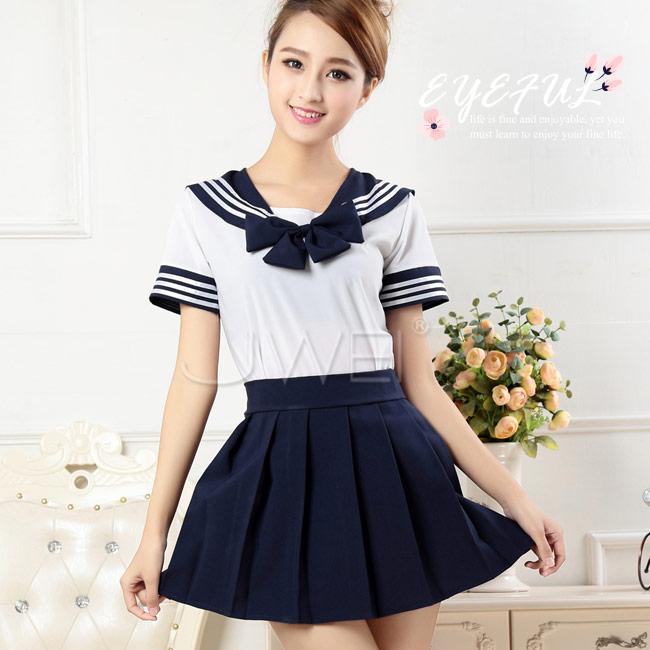 純真戀曲. 蝴蝶領結日式水手服學生服(藍)♥