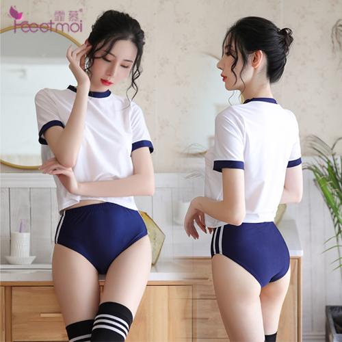 《FEE ET MOI》日系體操角色扮演服!拼色上衣包臀短褲三件組(學生)♥