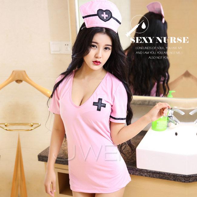 甜美氣息.性感護士套裝三件組(粉色)♥