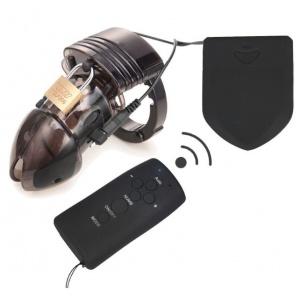 遙控電擊脈衝男用塑膠型貞操裝置(B6000S 透明)♥