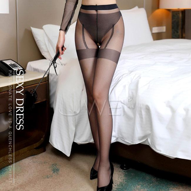 迷幻慾海.超薄性感假式吊襪帶開檔連褲絲襪♥