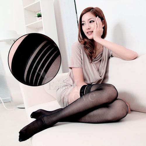 fashion 超彈性透明性感長筒絲襪﹝黑色款﹞♥