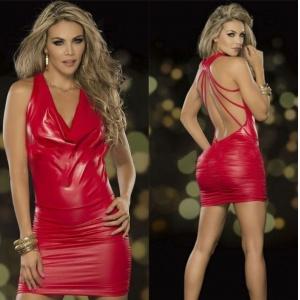 虐戀精品CICILY 上流嬌媚 美背 塗膠漆皮彈力緊身裙 紅♥