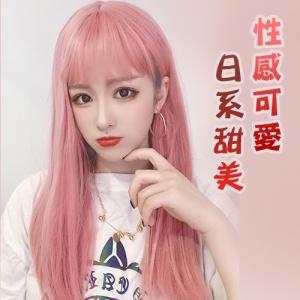 成人娃娃裝扮假髮 ‧ 齊瀏海 - 長直髮 / 粉色♡