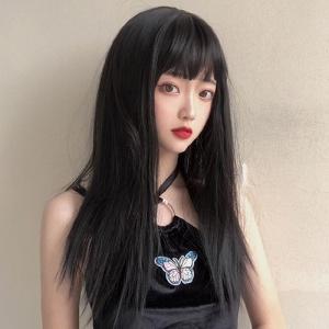 成人娃娃裝扮假髮 ‧ 齊瀏海 - 長直髮 / 黑色