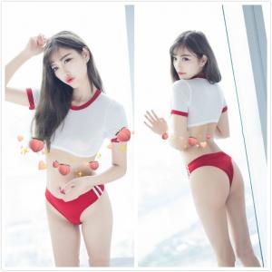 日系校園死庫水 情趣泳衣(紅)♥