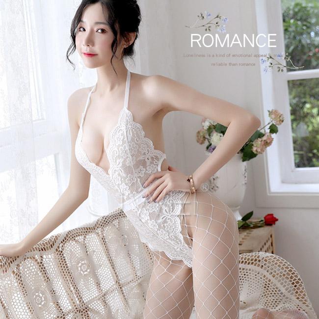 春心花季.性感透視蕾絲V領細帶掛脖連身衣(白色)♥