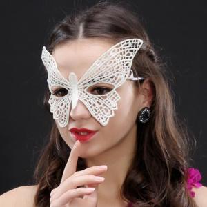 蕾絲眼罩‧大蝴蝶性感蕾絲面具(白)♥