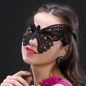 蕾絲眼罩‧大蝴蝶性感蕾絲面具(黑)♥