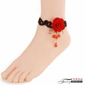 性感配件!黑蕾絲紅色玫瑰花朵腳鍊 聖誕節萬聖節配飾♥