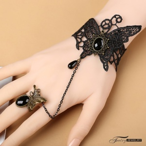 性感配件!歐美復古宮廷黑色哥特蝴蝶花型蕾絲手鍊 聖誕節萬聖節配飾♥