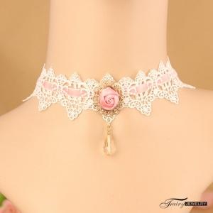 性感配件!蕾絲粉紅玫瑰手工復古 項鍊頸鍊 頸圈頸環 鎖骨鍊 聖誕節萬聖節配飾♥