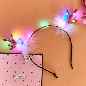 聖誕髮箍.LED發光羽毛紅鹿角髮箍♥