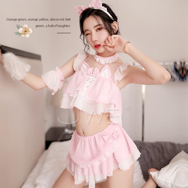 魅惑熱吻.分體式可愛女僕貓女制服套裝六件組(粉色)【3000元滿額超值禮】♥
