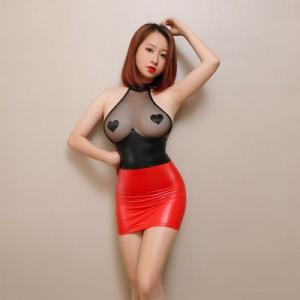 性感透視網紗漆皮包臀緊身裙(黑拼紅)♥
