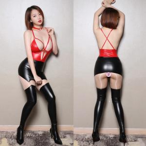 性感交叉線條漆皮包臀緊身裙附頸圈(紅拼黑)♥