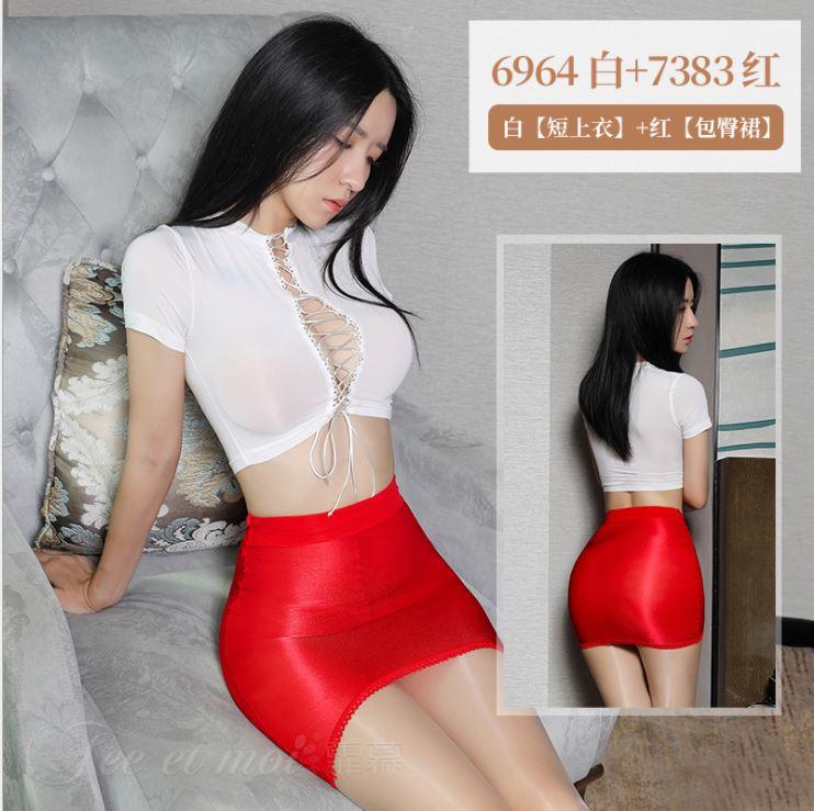 性感包臀OL秘書套裝(白+紅) 角色扮演 制服 情趣睡衣角色服♥