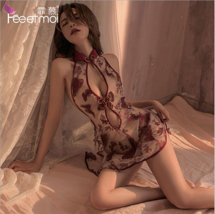 蝴蝶刺繡透紗旗袍(酒紅)角色扮演 制服 情趣睡衣角色服♥
