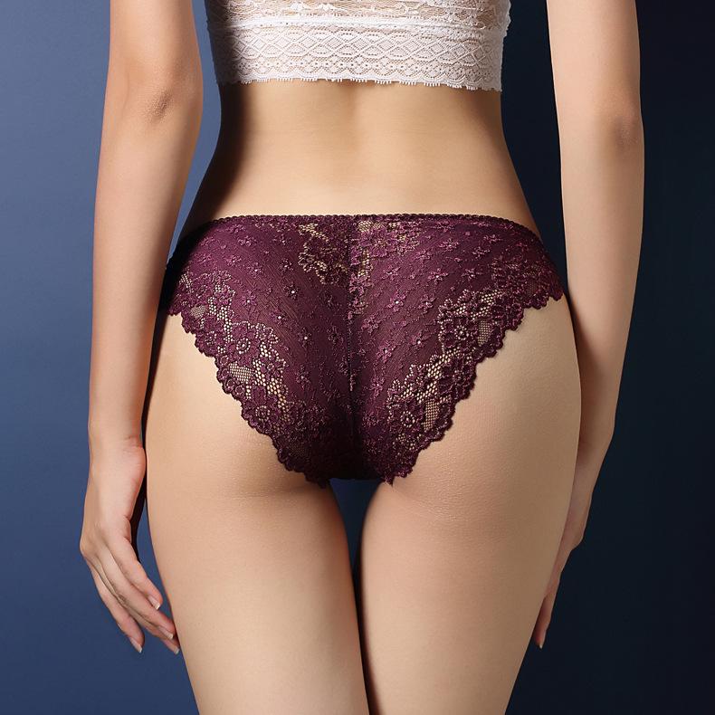 中大尺碼性感鏤空蕾絲提臀內褲XL(紫色)♥