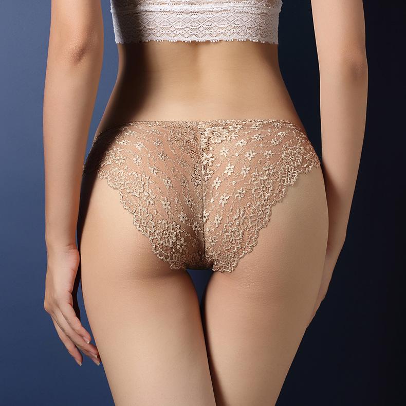 中大尺碼性感鏤空蕾絲提臀內褲XL(膚色)♥